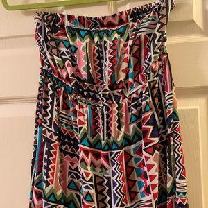 Strapless multicolor dress
